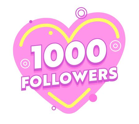 1000 Followers Social Sites Post in Pink Heart with Random Design Elements. Congratulation Card for One Thousand Subscribers in Internet Profile, Account Sticker, Icon Cartoon Flat Vector Illustration Иллюстрация