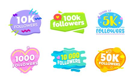 Set of Social Media Templates and Elements. Banners and Decoration for Internet Networks. 1k, 5k, 10k, 50k, 100k Followers Thank You Congratulation Post, Sticker, Icon Cartoon Flat Vector Illustration