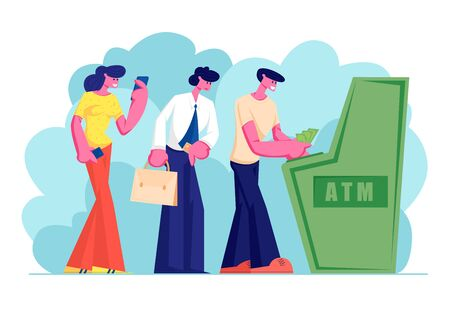 Characters Waiting in Turn to Draw or Put Money to Automated Teller Machine Standing in Queue. People Visiting Bank Using Atm Machine for Transaction Services, Banking Cartoon Flat Vector Illustration Illustration
