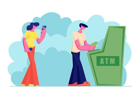 Young Woman Waiting in Turn for Using Atm in Bank, Man Draw or Put Money, People Stand in Queue, Using Automated Teller Machine for Transaction Services, Banking. Cartoon Flat Vector Illustration
