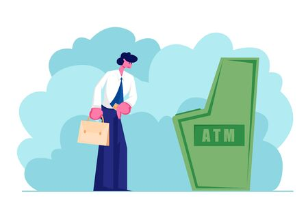 Man Stand at Automated Teller Machine Holding Credit Card in Hand, Character Want to Draw Money from Atm, Businessman Visiting Bank for Transaction Service and Banking Cartoon Flat Vector Illustration