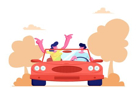 Happy Couple Driving Red Cabriolet Car on Nature Landscape Background. Young Man and Woman Traveling on Convertible Machine, Honeymoon, Summer Vacation, Trip, Journey. Cartoon Flat Vector Illustration