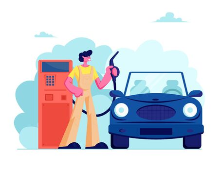 Gas Station Worker Hold Filling Gun for Pouring Fuel Into Car. Employee in Workwear at Petroleum Station Refueling Automobile, Transport Gasoline Service for Drivers. Cartoon Flat Vector Illustration Illustration