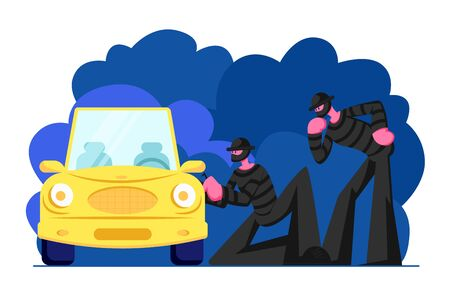 Couple of Masked Hijackers Wearing Black Clothes Standing Beside Car and Trying to Break Into It. Male Characters Committing Crime at Night Time, Bandits Stealing Auto Cartoon Flat Vector Illustration Ilustração
