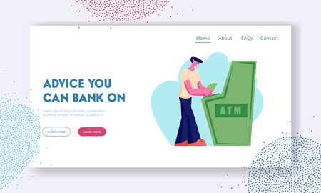 Atm Transaction Service, Banking Website Landing Page, Young Man Character Visiting Bank to Put or Withdraw Money to Automated Teller Machine, Banking Web Page. Cartoon Flat Vector Illustration Banner