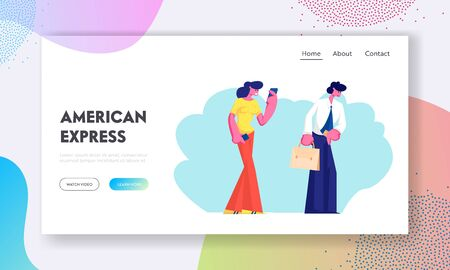 People Stand in Line Website Landing Page, Characters Holding Credit Card and Smartphone Stand in Queue in Store or Financial Institution Atm Service Web Page. Cartoon Flat Vector Illustration, Banner 向量圖像