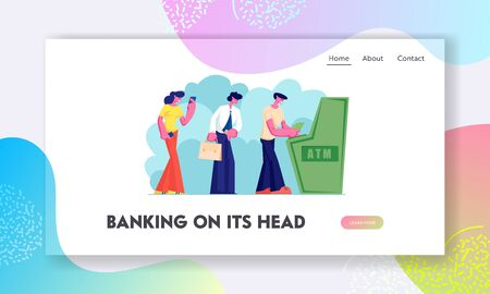 Atm Transaction Services, Banking Website Landing Page, Characters Waiting in Turn to Draw or Put Money to Automated Teller Machine. People Visit Bank Web Page. Cartoon Flat Vector Illustration Banner