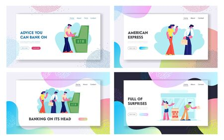 Atm Transaction Services, Banking Website Landing Page Set, Characters Draw or Put Money to Automated Teller Machine in Queue. People Visiting Bank Web Page. Cartoon Flat Vector Illustration, Banner 向量圖像
