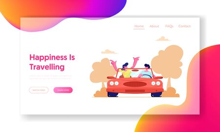Summer Vacation, Trip, Journey. Website Landing Page, Happy Couple Driving Red Cabriolet Car on Nature Landscape Background, Man and Woman Traveling Web Page. Cartoon Flat Vector Illustration, Banner  イラスト・ベクター素材