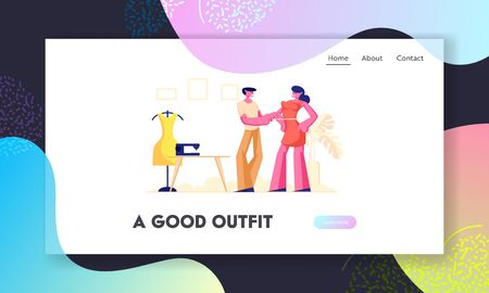 Garment Designer Website Landing Page, Dressmaker or Tailor Measuring Woman Customer Breast for Making Dress, Clothing Designer Working in Atelier Web Page. Cartoon Flat Vector Illustration, Banner  イラスト・ベクター素材