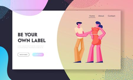 Customers Outfit Order Website Landing Page, Dressmaker or Tailor Measuring Woman Breast with Tape for Making Dress, Clothing Designer Work in Atelier Web Page. Cartoon Flat Vector Illustration Banner