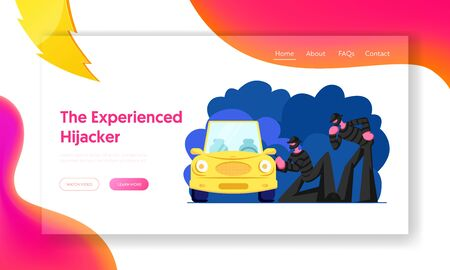 Bandits Stealing Auto Website Landing Page, Couple of Masked Hijackers Trying to Break Into Car. Male Characters Committing Crime at Night Time, Web Page. Cartoon Flat Vector Illustration, Banner Illustration