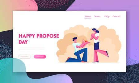 Engagement Website Landing Page, Young Man Stand on Knee with Ring in Hand Making Offer to Woman Asking her Marry him, Human Relations, Loving Couple Web Page. Cartoon Flat Vector Illustration, Banner