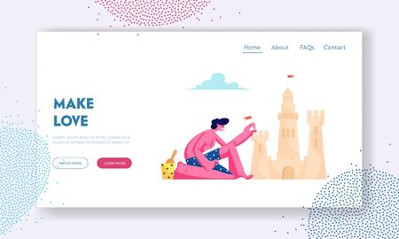 Summer Time Vacation Website Landing Page, Young Man in Swimsuit Having Leisure on Sandy Beach Building Sand Castle at Tropical Seaside Coast Line Web Page. Cartoon Flat Vector Illustration, Banner
