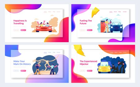 Loving Couple Travel by Car, Hijackers Steal Automobile, People Visiting Dinosaur Museum, Worker Filling Vehicle on Gas Station Website Landing Page, Web Page. Cartoon Flat Vector Illustration, Banner