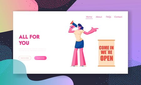 Boutique Open Event Website Landing Page, Girl Promoter with Megaphone Inviting People to Visit Opening Shop Standing at Store Entrance, Marketing Web Page. Cartoon Flat Vector Illustration, Banner Ilustração