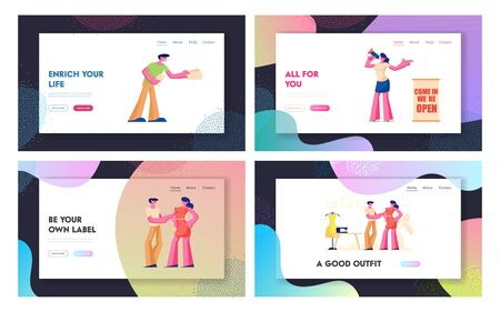 New Store Open Event Website Landing Page Set, Friendly Promoters Giving Invitation Flyers at Store Entrance for Inviting People to Visit New Shop Web Page. Cartoon Flat Vector Illustration, Banner Ilustração