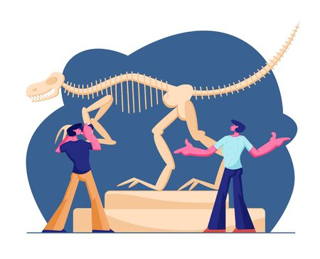 Couple of Men Visiting Paleontology Museum, Making Photo of Huge Tyrannosaur Rex Bones Upright Skeleton in Museum Exhibition. Dinosaurs Archaeological Exhibition. Cartoon Flat Vector Illustration