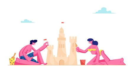 Young Loving Couple Having Leisure on Sandy Beach Building Sand Castle at Tropical Island Seaside. Man and Woman in Swimsuits on Resort Coast Line Summer Time Vacation Cartoon Flat Vector Illustration Ilustração