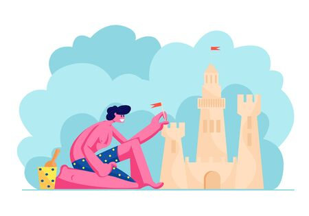 Young Man in Swimming Shorts Having Leisure on Sandy Beach Building Sand Castle at Tropical Island Seaside. Character Playing on Resort Coast Line Summer Time Vacation Cartoon Flat Vector Illustration 일러스트