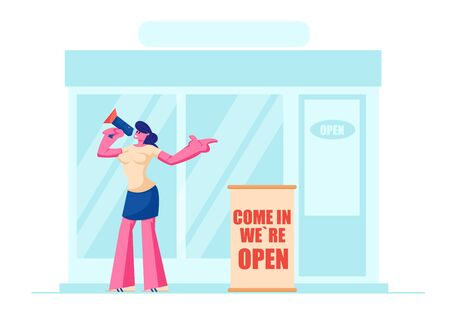 Friendly Girl Promoter, Owner or Seller with Megaphone Inviting People to Visit Opening Shop or Cafe Standing at Store Entrance, Boutique Open Event, Marketing. Cartoon Flat Vector Illustration Ilustração
