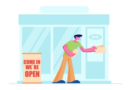 Man Promoter, Owner or Giving Invitation Flyers at Store Entrance for Shop Open Event, Salesman Inviting People to Visit Boutique, or New Restaurant, Consumerism. Cartoon Flat Vector Illustration