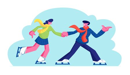 Young Couple in Love Man and Woman Characters Have Fun, Active Date Skating on Ice Rink Arena in Winter Time, Healthy Lifestyle, Loving Relations, Outdoors Activity Cartoon Flat Vector Illustration Foto de archivo - 128443244