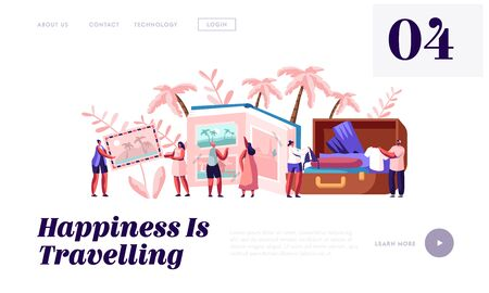 Memory, Photography, Trip Website Landing Page, Young People After Vacation Watching Photo Album, Take Out Clothes and Souvenirs from Suitcase, Web Page. Cartoon Flat Vector Illustration, Banner