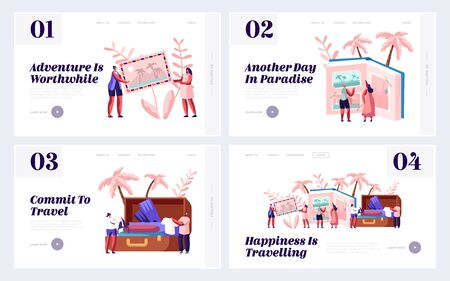 Memory, Photography, Trip Website Landing Page Set, Young People After Vacation Watching Photo Album, Take Out Clothes and Souvenirs from Suitcase, Web Page. Cartoon Flat Vector Illustration, Banner Иллюстрация