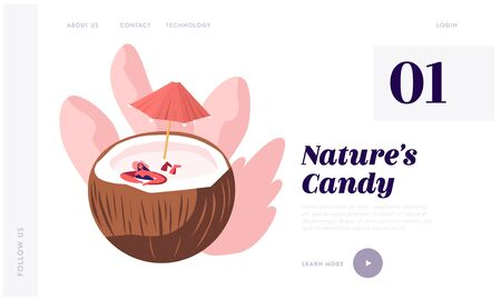 Natural Products Website Landing Page, Woman in Summer Hat Relaxing in Huge Coconut with Umbrella as in Swimming Pool, Summertime Drinks, Holidays Web Page. Cartoon Flat Vector Illustration, Banner Illustration