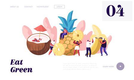 Page de destination du site Web des personnages et des fruits mûrs, noix de coco, ananas, banane, aliments sains, nutrition enrichie, cocktails de jus de fruits frais d'été, page Web. Illustration vectorielle plane de dessin animé, bannière