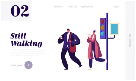 Pedestrians at Traffic Light Website Landing Page, Fashioned Handsome Business Man with Smartphone and Young Woman with Little Dog Wait to Cross Road Web Page. Cartoon Flat Vector Illustration, Banner Иллюстрация