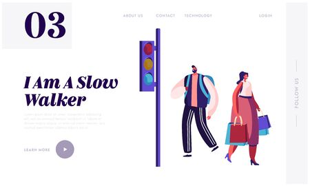 Pedestrians at Traffic Light Website Landing Page, Man with Backpack and Young Woman with Shopping Bags Waiting on Walkside to Cross Road, City People Web Page. Cartoon Flat Vector Illustration Banner
