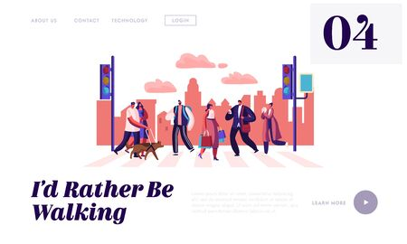 Pedestrians People Walking on City Street Website Landing Page, Men and Women Characters Hurry on Urban Background with Traffic Lights and Crosswalk Web Page. Cartoon Flat Vector Illustration, Banner