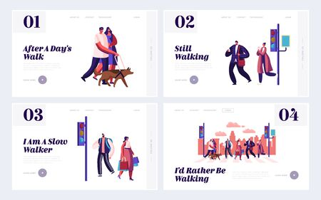 Pedestrians Website Landing Page Set, People Walking on City Street with Traffic Lights and Crosswalk Moving by Road, Men, Women Characters Lifestyle, Web Page. Cartoon Flat Vector Illustration Banner