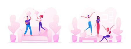 People Fooling and Having Fun at Home, Male and Female Couple Jumping on Sofa Fighting with Pillows, Company of Young Girls Singing and Dancing on Couch in Room. Cartoon Flat Vector Illustration