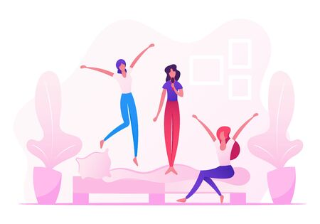 Home Party, People Fooling and Having Fun, Teenage Girls Jumping on Sofa Singing and Dancing on Couch in Room, Leisure, Relax, Childish Behaviour, Recreation Lifestyle Cartoon Flat Vector Illustration  イラスト・ベクター素材
