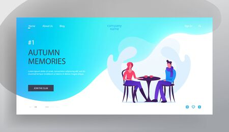 Dating in Cafe Website Landing Page, Loving Couple in Autumn Time, Young Man and Woman Sitting at Table in Cafeteria Drinking Hot Beverage, Love, Web Page. Cartoon Flat Vector Illustration, Banner