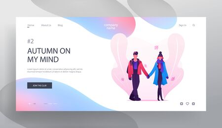 Loving Couple Dating in Autumn Time Website Landing Page, Young Man and Woman Holding Hands Walking on Street with Fallen Leaves, Love Relations Web Page. Cartoon Flat Vector Illustration, Banner
