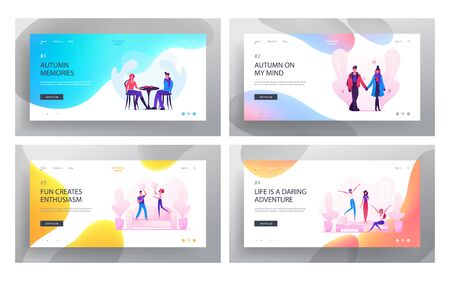 Loving Couple Dating and Fooling Website Landing Page Set, Man, Woman Walking , Visiting Cafe for Drinking Hot Beverage, Fighting with Pillows, Love Web Page. Cartoon Flat Vector Illustration, Banner
