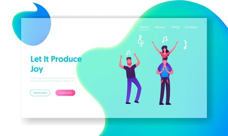People Visit Music Event, Party or Concert Website Landing Page, Group of Friends Cheering,Waving Hands, Girl Sitting on Man Shoulders, Leisure. Web Page. Cartoon Flat Vector Illustration, Banner Illustration