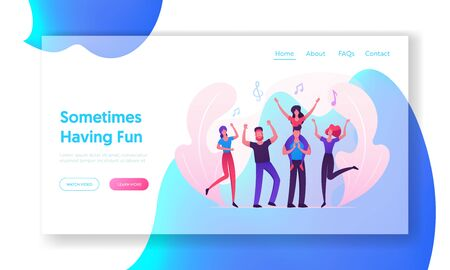 Music Party Website Landing Page, Group of Young People Visiting Concert, Fans Cheering with Hands Up, Girl Sitting on Man Shoulders, Friends Leisure Web Page. Cartoon Flat Vector Illustration, Banner  イラスト・ベクター素材
