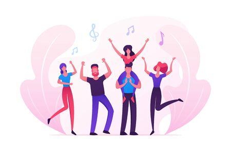 Grupo de jóvenes que visitan un evento musical o un concierto, fanáticos de hombres y mujeres animando, bailando y saltando con las manos arriba, chica sentada sobre los hombros de hombre, ocio de amigos. Ilustración de Vector plano de dibujos animados