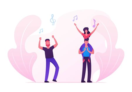 Men and Women Fans Cheering, Dancing and Jumping with Hands Up, Group of Young People Visiting Music Event or Concert, Girl Sitting on Man Shoulders, Friends Leisure. Cartoon Flat Vector Illustration