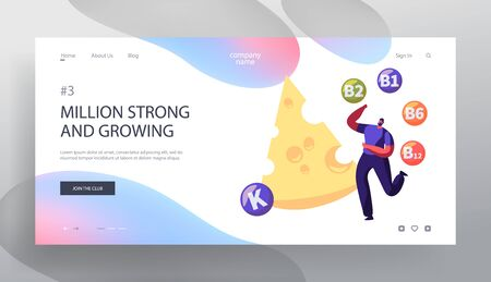 Diary Products Website Landing Page, Young Man Juggle with Huge Cheese Vitamin Balls Healthy Lifestyle, Organic Food Choice. Source of Health Energy Web Page. Cartoon Flat Vector Illustration, Banner Vectores