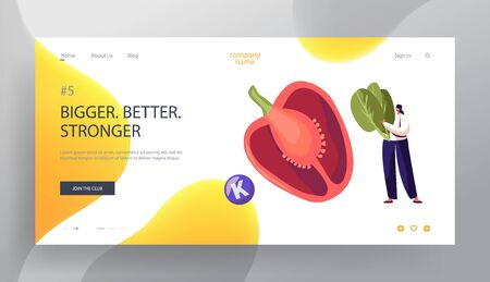 Vitamins in Vegetable Products Website Landing Page, Young Man Holding Spinach, Huge Bell Pepper, Healthy Lifestyle, Organic Food Source of Health, Web Page. Cartoon Flat Vector Illustration, Banner Иллюстрация