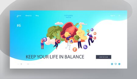 Healthy Lifestyle, Organic Food Choice Website Landing Page. Fruits, Vegetables, Cheese and Eggs as Source of Health, Vitamins in Products Concept Web Page. Cartoon Flat Vector Illustration, Banner Иллюстрация