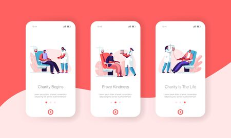 Volunteers Donating Lifeblood Mobile App Page Onboard Screen Set, Doctor, Nurse in Clinic Take Blood in Test Flasks, Charity Donation Concept for Website or Web Page, Cartoon Flat Vector Illustration Иллюстрация