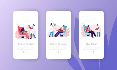 Blood Donation Mobile App Page Onboard Screen Set Volunteers Characters Sit in Medical Hospital Chair Donating Blood, Donors in Clinic Concept for Website or Web Page, Cartoon Flat Vector Illustration