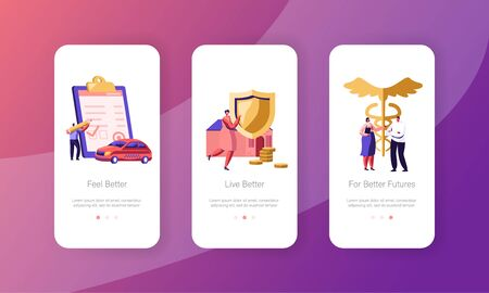 Property, Car and Health Medical Insurance Mobile App Page Onboard Screen Set. Insurance Policy Paper for Auto, Home, Life Protection Concept for Website or Web Page, Cartoon Flat Vector Illustration Иллюстрация